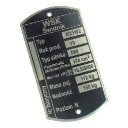 Tabliczka znamionowa WSK175...
