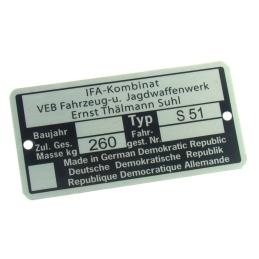 Tabliczka znamionowa IFA...